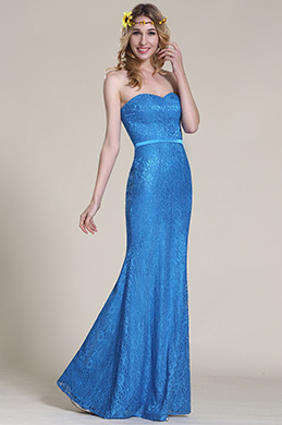 eDressit Strapless Sweetheart Blue Lace Bridesmaid Dress (07153005)