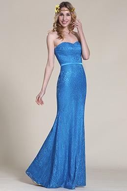 eDressit Trägerlos Süß Herz Blau Spitze Brautjungfer Kleid (07153005)