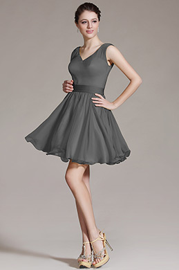 Robe de cocktail V col Gris( (07156408)