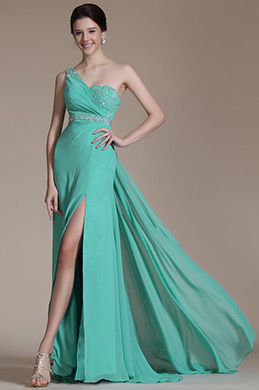 Turqoise One Shoulder High Split Evening Dress(C36142404) (C36142404)