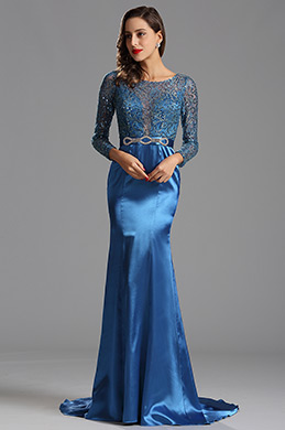Long Sleeves Blue Sequin Formal Dress Evening Dress (X02152905-1)