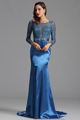 Lange Ärmel Blau Pailletten Formal Kleid Abendkleid (X02152905-1)