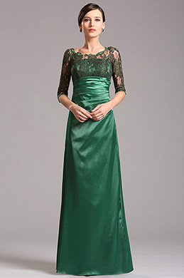 Modest Long Lace Sleeves Green Mother of the Bride Dress (X26121804)