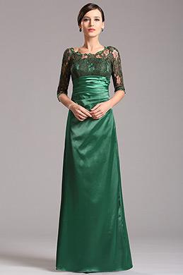 Vestido de Ceremonia para Madre Mangas de Encaje Verde (X26121804)