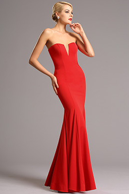 Strapless V Cut Neck Red Prom Dress Formal Dress (00161102)