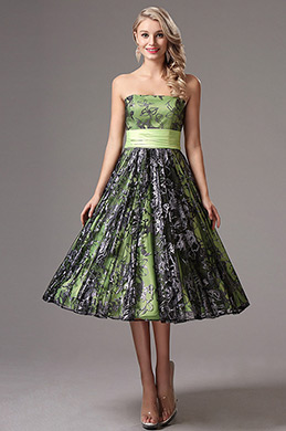 Strapless Green Tea Length Party Dress Formal Dress (X04145104)