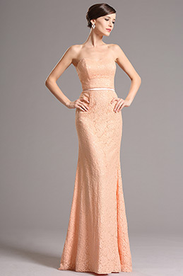 Strapless Sweetheart Overlace Orange Bridesmaid Dress Evening Dress (07153010)