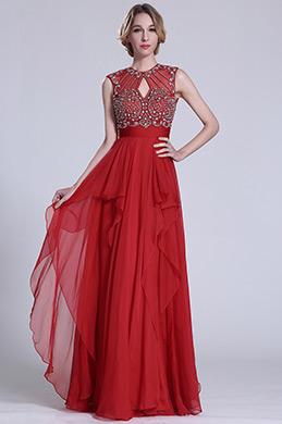 Robe de bal longue rouge sans manche avec perles (C36151502)