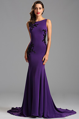 Elegant Sleeveless Lace Applique Purple Fomal Dress Evening Dress (00163006)