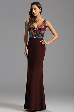 Sexy Sequin Bodice V Neck Formal Dress Prom Dress (X00161720-1)