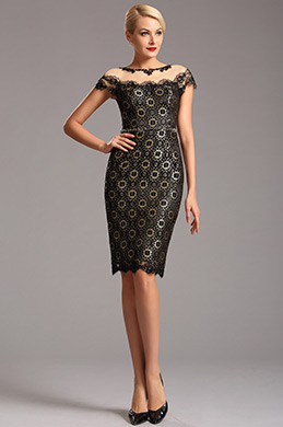 Black Vintage Cap Sleeves Lace Cocktail Party Dress (03160500)