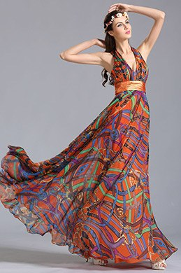eDressit Plunging Halter Neck Printed Dress Holiday Dress (00155310)