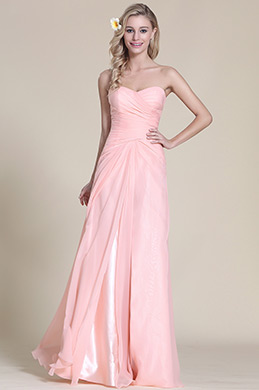 Strapless Sweetheart Pink Bridesmaid Dress Evening Dress (07153101)