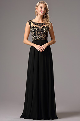 A Line Beaded Illusion Bodice Black Formal Dress (36161800)