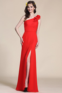 Floral One Shoulder Red Evening Dress Bridesmaid Dress (07154302)