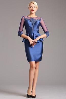 Robe Mère de Mariée Manches Une Pièce Courte Bleu(26160205)