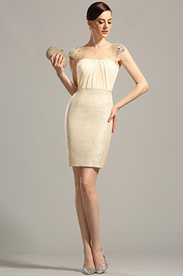 Robe de cocktail/ville fourreau beige originale avec bijoux (03150914)