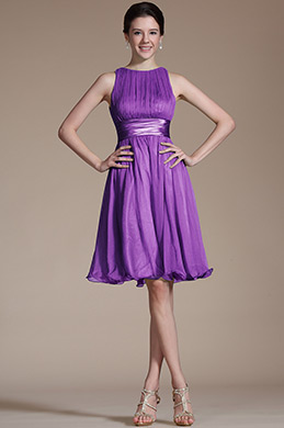 Robe de Cocktail Sans Manches Violet (07156606)