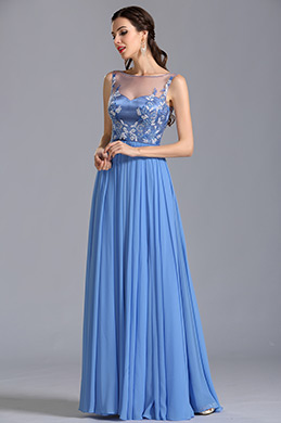 Sleeveless Illusion Sweetheart Embroidery Evening Dress Formal Gown (00153805)