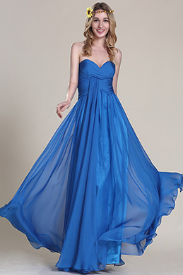 Robe demoiselle d'honneur longue bleue sans bretelle (07152205)