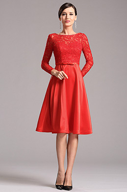 Stunning Red Party Dress with Long Lace Sleeves (X04151802)