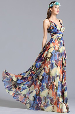 Plunging Spaghetti Straps Floral Dress Printed Dress (07151068)