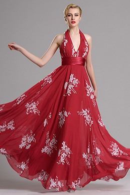 eDressit Red Halter Floral A Line Evening Dress (X07158002)