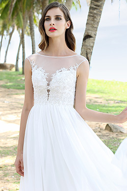 Sleeveless A Line Illusion Plunging Neck Wedding Dress (01160207)