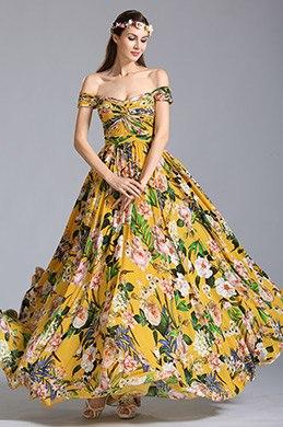 Robe de soirée longue jaune à imprimé floral pour l'été (07151703)