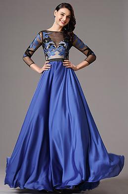 Robe de Soirée Bleu Manches Longues en Tulle avec Broderie (02160305)