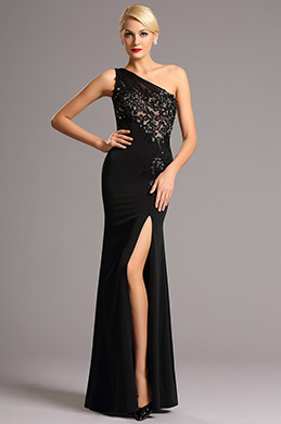 One Shoulder Black Evening Dress Formal Gown (00161600)