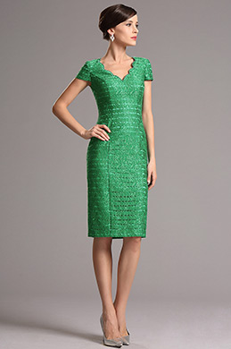 Green Vintage V Neck Short Sleeves Mother of the Bride Dress (26161704)
