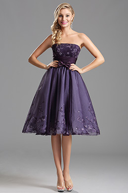 Robe de cocktail sans bretelle satin noeuds papillon violet(X04135106)