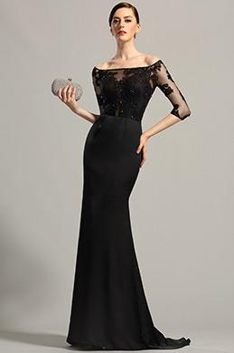eDressit robe de soirée longue noire fourreau col bateau (02152800)