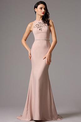 Ärmellos Rosig  Formal Abendkleid mit Scherenschnitt (00160946)