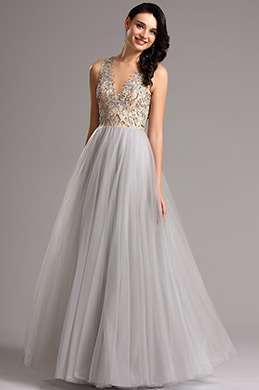 Plunging Illusion Neck Beaded Bodice Prom Gown (00160508)