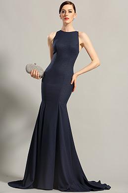 Robe de soirée longue bleu nuit sans manche décolleté dos (00155205)