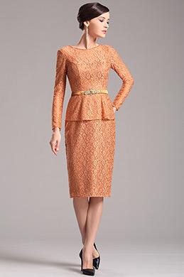 Robe de cocktail orange en dentelle pour mariage (X26150310)