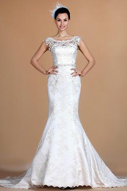 Bateau Neckline Lace Mermaid Wedding Dress (C37140207)