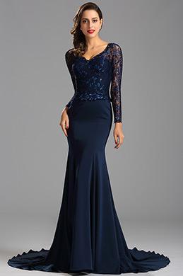 eDressit Illusion Spitze Blau Mermaid Abschlussball Kleid(26162205)