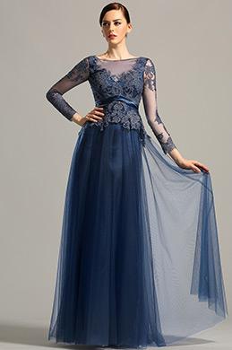 Lang Ärmellos Offen Rücken Blau Abendkleid Ballkleid (26153005)