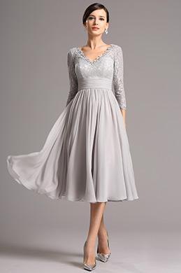 Lang Spitze Ärmel Tiefer Ausschnitt Grau Knielang Kleid (26160108)