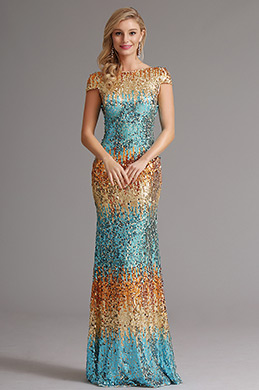 Capped Sleeves Cowl Back Sequin Formal Dress Evening Dress (X07160356)