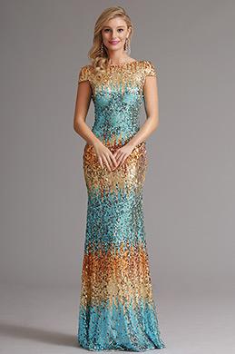 Kappe Ärmel Cowl Rücken Pailletten Formal Kleid Abendkleid (X07160356)