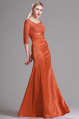 Robe Mère de Mariée 3/4 Manche Dentelle Orange (X26121810-1)