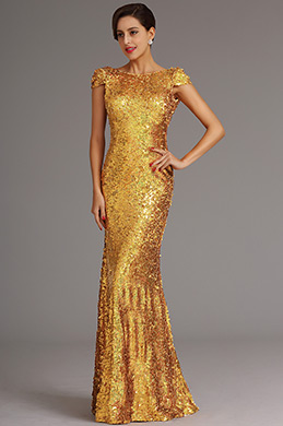 Golden Pailletten Abendkleid Formal Kleid mit Cowl Rücken (X07160359)