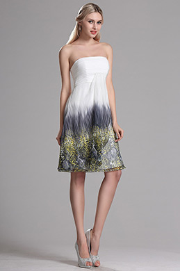 Strapless Printed Cocktail Dress Short Beach Holiday Party Dress (X07151803)