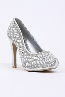 Silver High Heels With Crystal Beadings (09150326)
