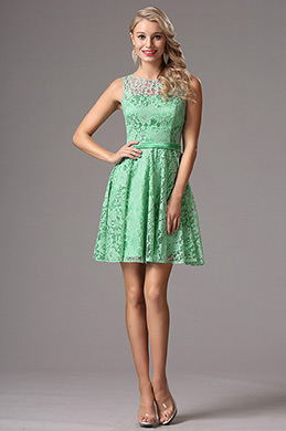 Green Lace Bridesmaid Dress Cocktail Dress (X07152604)