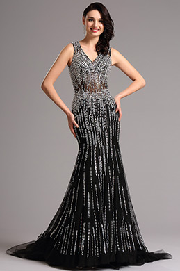 Sparkling Plunging Neck Long Formal Gown Evening Dress (36160400)